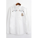 Cartoon Cat Embroidered Lapel Collar Long Sleeve Loose Buttons Down Shirt