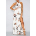 Sexy Halter Open Tied Back Sleeveless Floral Printed Split Front Maxi Dress