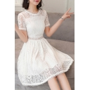 Round Neck Short Sleeve Chic Lace Hollow Out A-Line Midi Dress