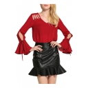 New Fashion V Neck Bell Sleeve Hollow Out Shoulder Chiffon Pullover Plain Blouse
