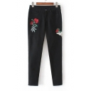 Floral Crane Embroidered Black Skinny Jeans