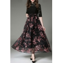 Fake Two-Piece Lace Inserted Bow Waist Floral Printed A-Line Maxi Dress