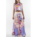 Women's Floral Printed Color Block Sleeveless Tee with Maxi Skirt