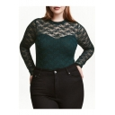 Summer's New Arrival Lace Inserted Sheer Round Neck Long Sleeve Bodysuit