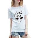 Funny Printed Round Neck Short Sleeve Summer's Basic Graphic Tee