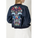 Floral Embroidered Zip Placket Long Sleeve Contrast Collar Denim Jacket