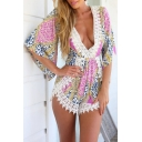 Sexy Plunge V-Neck Lace Patchwork Half Sleeve Color Block Printed Rompers
