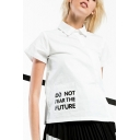 Zip Back Lapel Collar Short Sleeve Slit Side Letter Printed Pullover Blouse