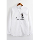 New Arrival Cat Embroidered Lapel Collar Long Sleeve Simple Casual Shirt