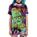 Stylish Cartoon Letter Alien Printed Round Neck Short Sleeve Tunic T-Shirt