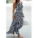Women's Striped Color Block Sleeveless High Low Hem Asymmetric Cami Dress