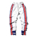 Red Blue Striped Side Elastic Waist Closed Cuff Leisure Sports Pants
