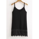 Summer's Basic Cotton Plain Casual Lace Inserted Hem Cami Top