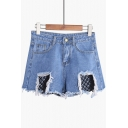 Summer's High Rise Fishnet Cut Out Ripped Loose Wide Legs Denim Shorts