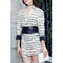 Fashion Notched Lapel Letter Printed Long Sleeve Tunic Blazer with A Belt