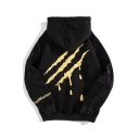 Drawstring Hooded Scratch Printed Long Sleeve One Pocket Hoodie Sweatshirt