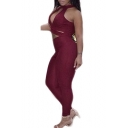 Sexy Cutout V-Neck Open-Back Sleeveless Plain Jumpsuits