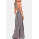 Crisscross Open Back Spaghetti Straps Multi Straps Plain Maxi Evening Dress