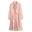 New Fashion Bow Collar Long Sleeve Floral Printed Pleated Midi Dress