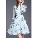 Round Neck 3/4 Sleeve Retro Floral Printed Chic A-Line Mini Dress