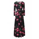Vintage Floral Printed Round Neck Long Sleeve Tie Waist Maxi Dress