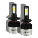 NIGHTEYE S2 Car LED Headlight Bulbs H7 72W 9000LM 6500K Bridgelux COB LED Pack of 2