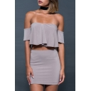 Sexy Off the Shoulder Short Sleeve Ruffle Blouse with Mini Bodycon Skirt Plain Co-ords