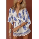 Sexy Plunge V-Neck Half Sleeve Lace Patchwork Color Bloc Printed Rompers