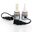 Car Hi/Lo Beam LED Headlight Bulbs H11 72W 7600LM 6000K COB LED Pack of 2
