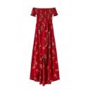 Summer's Floral Printed Boat Neck Short Sleeve High Low Hem Asymmetrical Dress