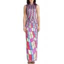 Hot Fashion Retro Striped Printed High Neck Sleeveless Maxi Bodycon Dress