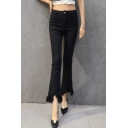 High Waist Skinny Plain Tassel Trim Jeans Flared Pants