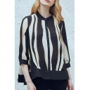 Fashion Single Breasted Striped Color Block 3/4 Length Sleeve Shirt