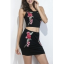 Floral Embroidered Spaghetti Straps Cropped Cami Pencil Mini Skirt Co-ords