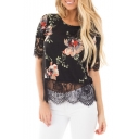 Round Neck Short Sleeve Lace Inserted Floral Printed Pullover T-Shirt