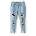Floral Embroidered Cut Out Ripped Fashion Capri Denim Pants