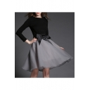 Round Neck Long Sleeve Plain Top Bow Waist A-Line Gauze Mini Skirt Set