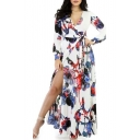 Women's Fashion V-Neck Floral Printed Belt Waist Split Side Long Sleeve Maxi Dress