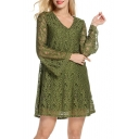 V Neck Long Sleeve Lace Inserted Casual A-Line Plain Mini Dress