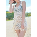 New Arrival Hollow Out Lace Sleeveless V-Neck Plain Beach Cover Up Dress