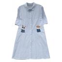 Lapel Collar Short Sleeve Cute Cartoon Printed Buttons Down Striped Shirt Dress
