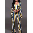 Plunge Neck Color Block Striped Printed Loose Casual Jumpsuits with Cape
