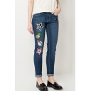 Funny Pattern Midwashed Blue Leisure Skinny Denim Pants