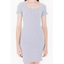 Casual Scoop Neck Short Sleeve Plain Mini T-Shirt Dress