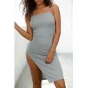 New Fashion Split Side Spaghetti Straps Plain Mini Slip Dress