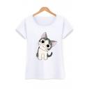 Cotton Round Neck Short Sleeve Cartoon Cat Printed Pullover T-Shirt