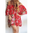 Women's Floral Printed Spaghetti Straps Cold Shoulder Short Sleeve Mini Dress