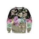 Digital Floral Cat Printed Round Neck Long Sleeve Pullover Sweatshirt