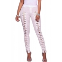 Fashion Lace-Up Cutout Front Plain Skinny Pants