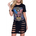 Fashion Eagle Printed Cutout Hem Short Sleeve Round Neck Mini T-Shirt Dress